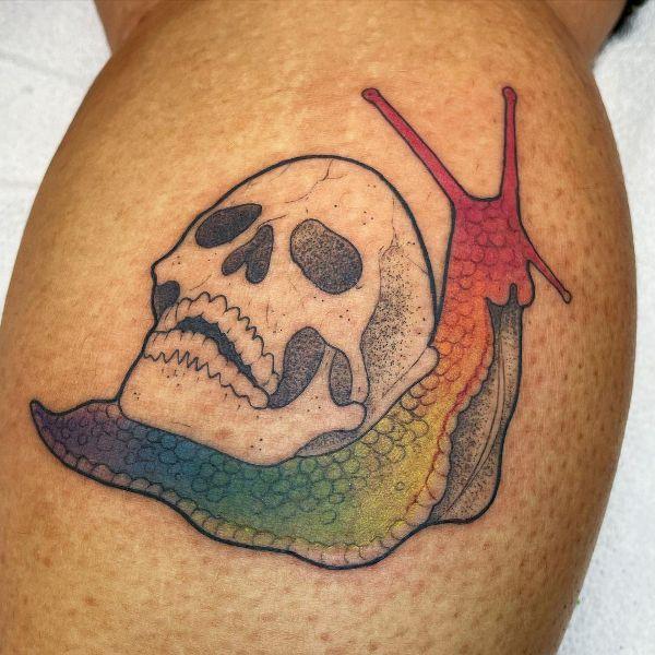 'Snail with Skull' Tattoo