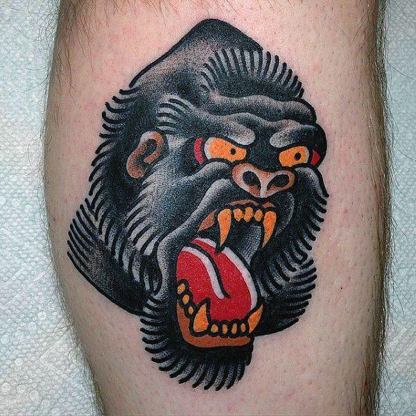 Traditional Gorilla Tattoo