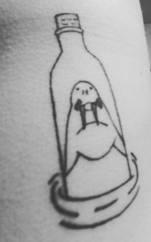 'Walrus in a Bottle' Tattoo