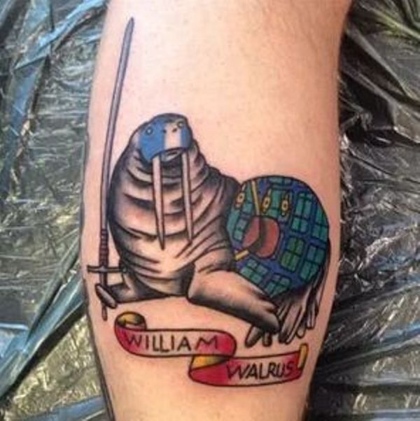 'Walrus with a Sword and a Bag' Tattoo