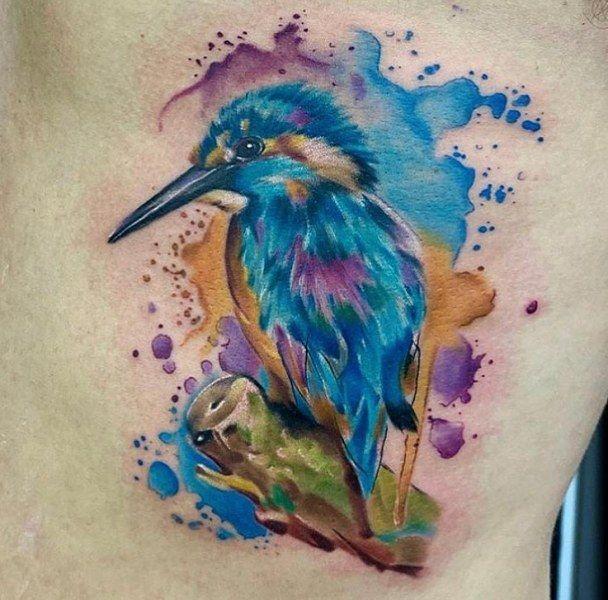 Watercolor Kingfisher Tattoo