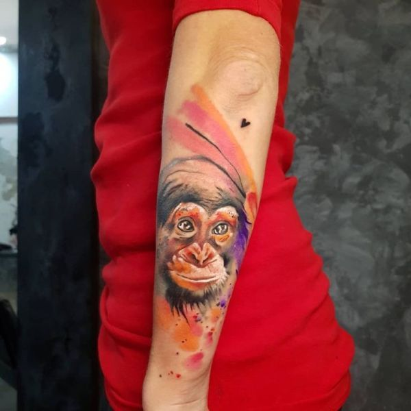 Watercolor Monkey Tattoo