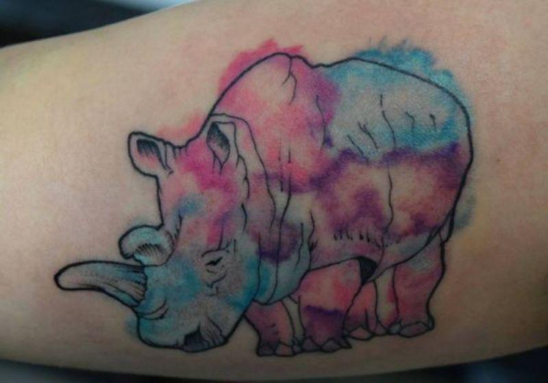 Watercolor Rhino Tattoo