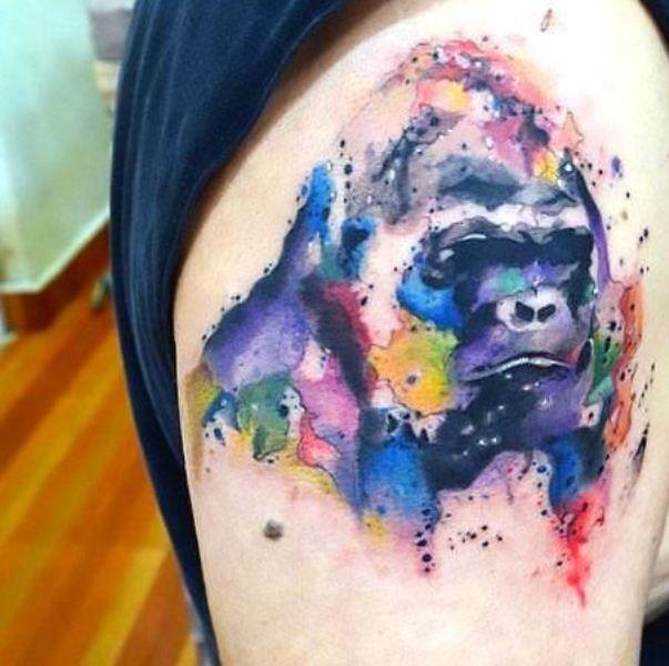 Watercolour Gorilla Tattoo