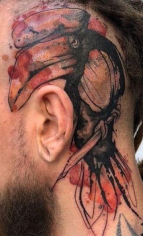 Watercolour Hornbill Tattoo