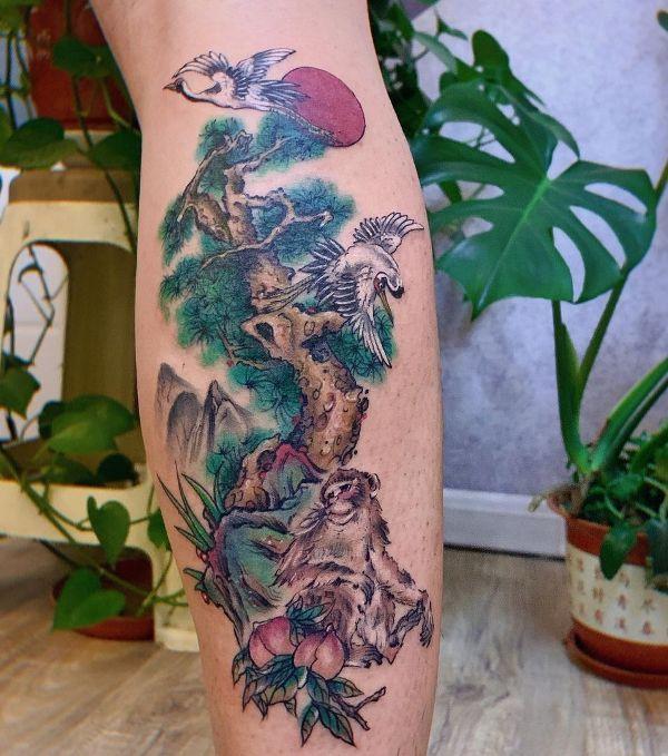 Wildlife Theme Monkey Tattoo